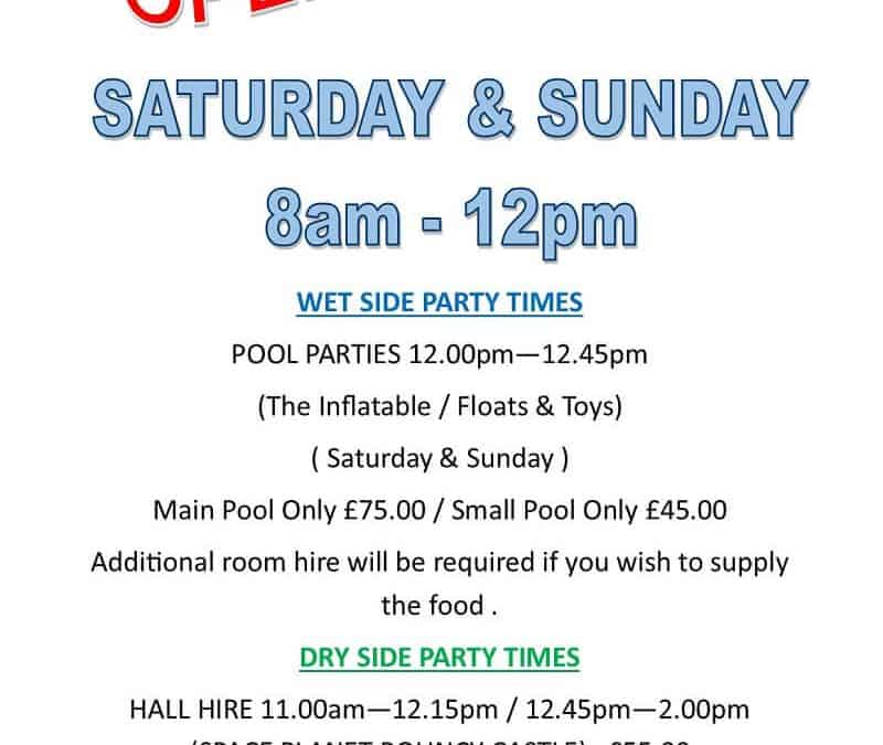New Weekend Opening Times